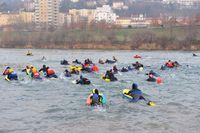 Traversée de Lyon à la nage avec palmes