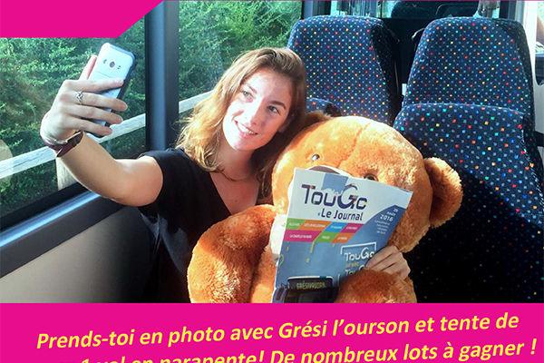 Jeu-concours TouGo Grési l'ourson dans le Grésivaudan