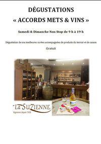 """Dégustations """"accords mets et vins"""" à La Suzienne"""