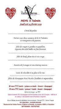 Menu Saint Valentin au restaurant Les Vieilles Pierres